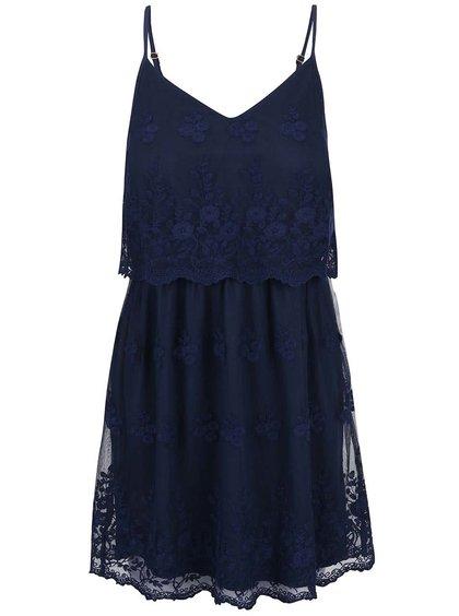 Tmavomodré romantické šaty VERO MODA Kiki