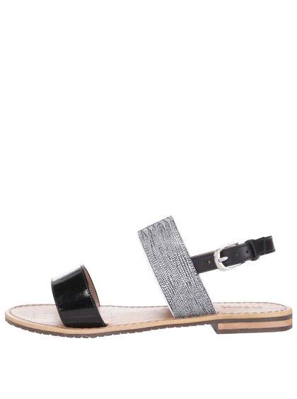 Černé kožené sandálky Geox Sozy