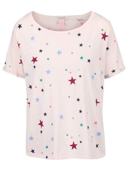 Světle růžové tričko s barevnými hvězdičkami Maison Scotch