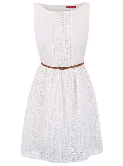 Krémové perforované šaty s páskem s.Oliver