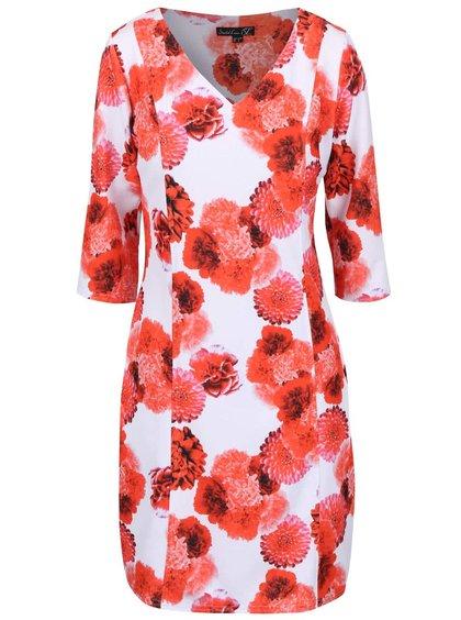 Biele šaty s červenými kvetmi Smashed Lemon