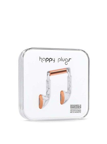 Căști Happy Plugs albe, cu detalii aurii