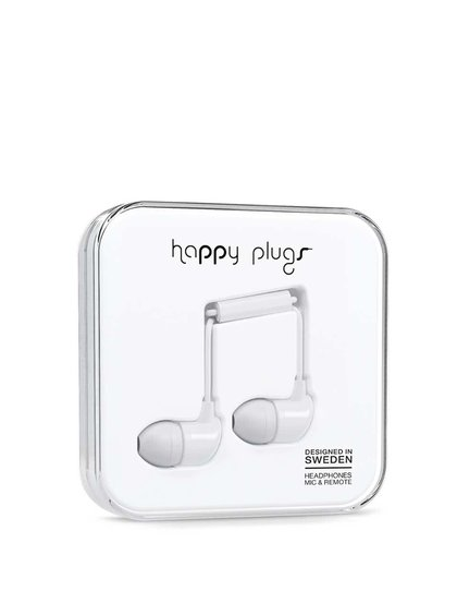 Bílá in-ear sluchátka Happy Plugs