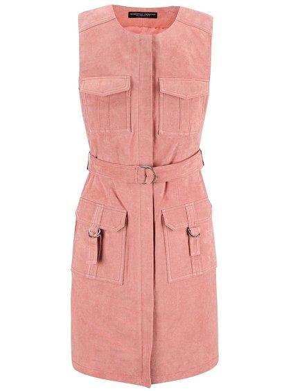 Růžové semišové šaty Dorothy Perkins
