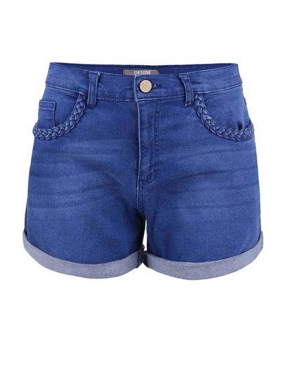 Pantaloni scurți Dorothy Perkins albaștri, din denim, cu talie înaltă