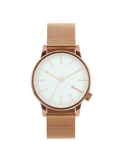 Pánske hodinky v medenej farbe s nerezovým remienkom Komono Winston Royale