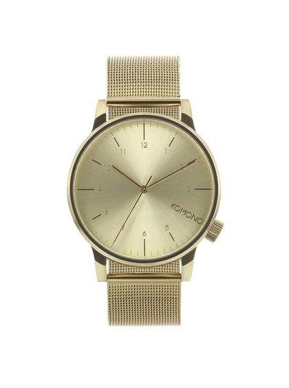 Pánske hodinky v zlatej farbe s nerezovým remienkom Komono Winston Royale
