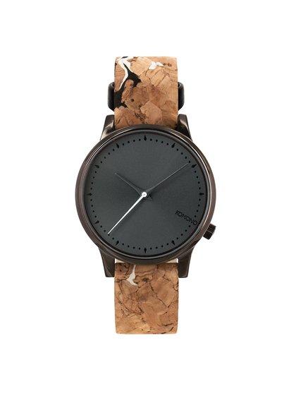 Čierne dámske hodinky s hnedým korkovým remienkom Komono Estelle