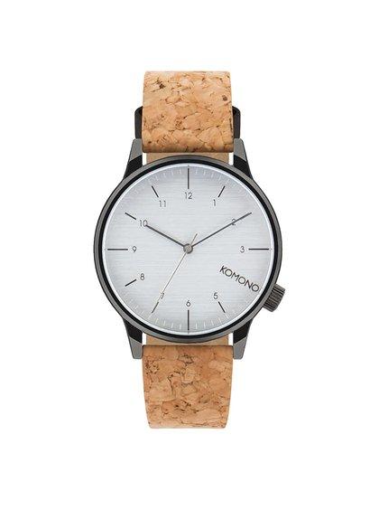 Sivé pánske hodinky s hnedým korkovým remienkom Komono Winston