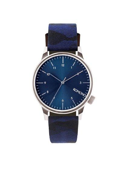 Pánské hodinky ve stříbrné barvě s modrým páskem Komono Winston Print