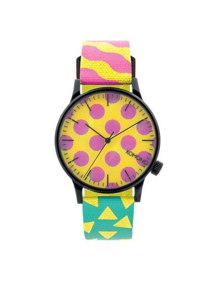 Černé pánské hodinky s barevným vzorovaným textilním páskem Komono Winston Pop