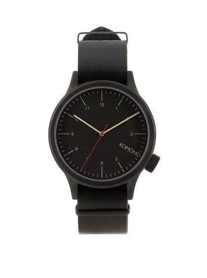 Čierne pánske kožené hodinky Komono Magnus
