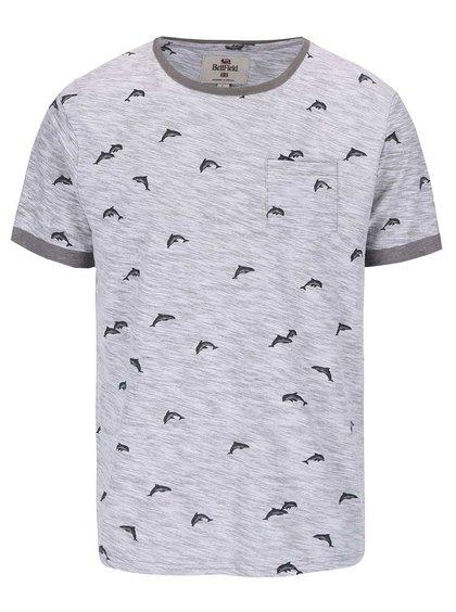 Sivé tričko s potlačou delfínov Bellfield Stonewell