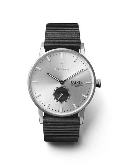 Kožené unisex hodinky ve stříbrné barvě s černým páskem TRIWA Charles Falken