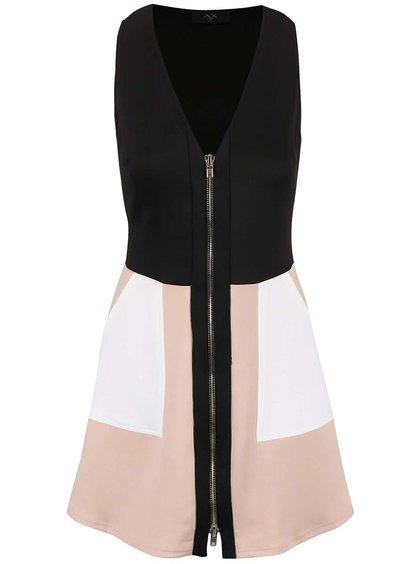 Béžovo-černé šaty se zipem AX Paris