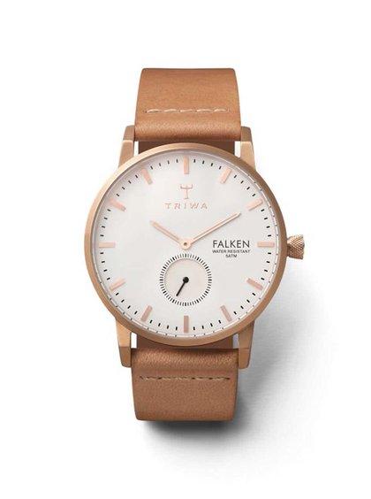 Unisex kožené hodinky ve zlato-růžové barvě TRIWA Rose Falken