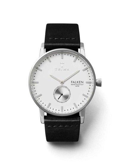 Unisex hodinky v striebornej farbe s čiernym koženým remienkom TRIWA Ivory Falken