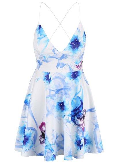 Bílé šaty na ramínka s modrými květy AX Paris