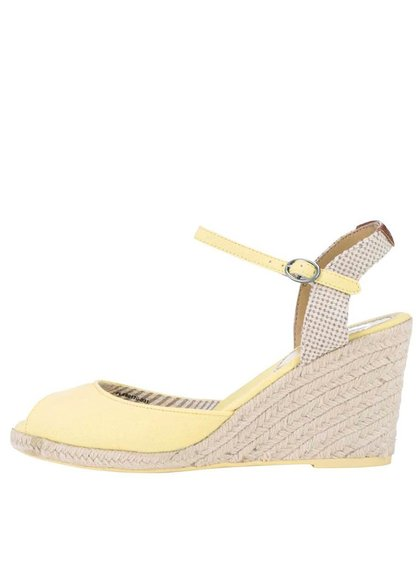 Žlté dámske sandále na klinovom podpätku Pepe Jeans