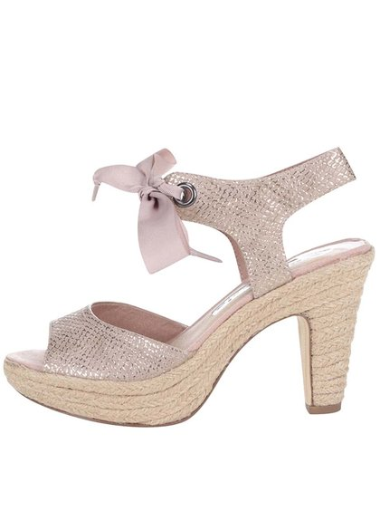 Sandale Tamaris roz cu fundă