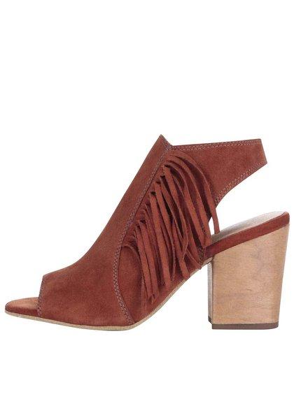 Tehlové kožené topánky na podpätku Tamaris