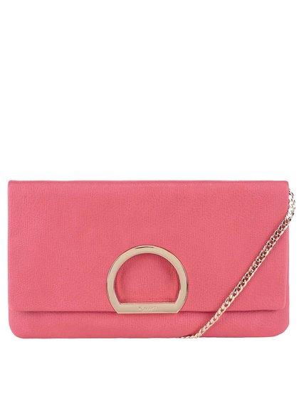 Ružová listová kabelka so sponou v zlatej farbe Dune London Elex