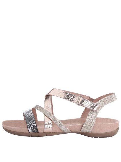 Růžové sandálky s pásky ve zlato-růžové barvě Tamaris