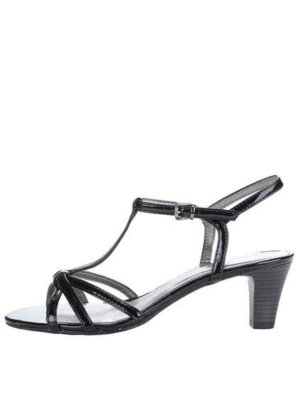 Černé lesklé sandálky na podpatku Tamaris