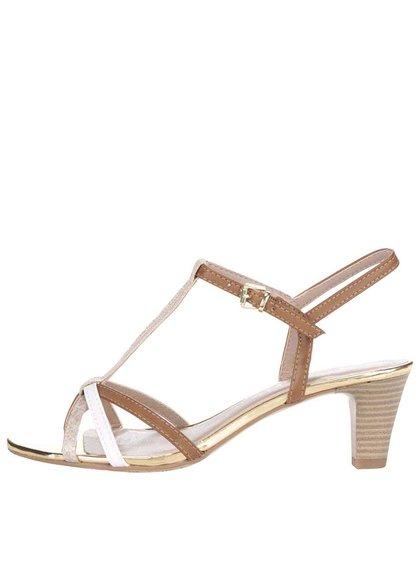 Béžovo-hnědé sandálky na podpatku s detaily ve zlaté barvě Tamaris