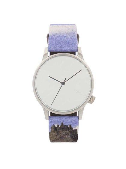 Modrobílé unisex hodinky s ciferníkem ve stříbrné barvě Komono Winston by René Magritte