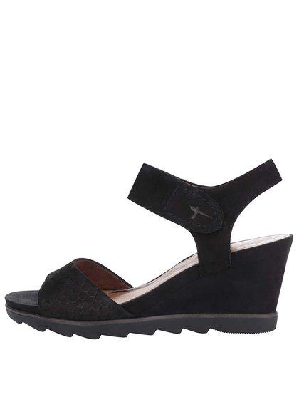 Černé kožené páskové sandály na klínku Tamaris