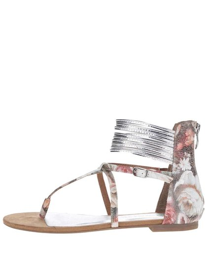 Hnedé členkové sandálky so vzorom kvetín Tamaris
