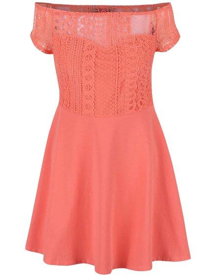 Koralové šaty s čipkovaným topom Dorothy Perkins Petite