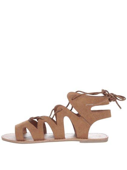 Hnědé sandálky se zavazováním Dorothy Perkins