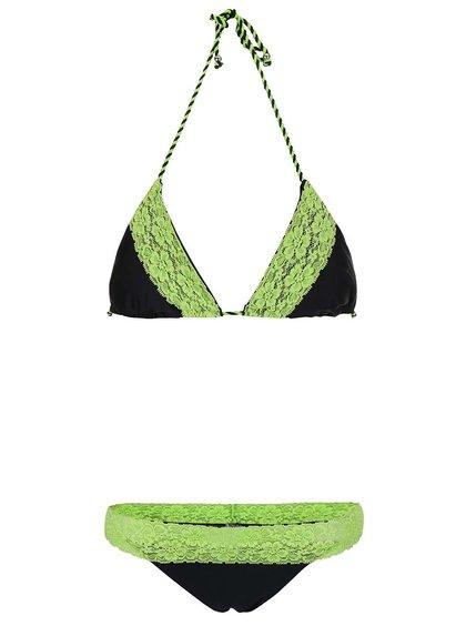 Costum de baie negru Relleciga cu aplicații din dantelă verde