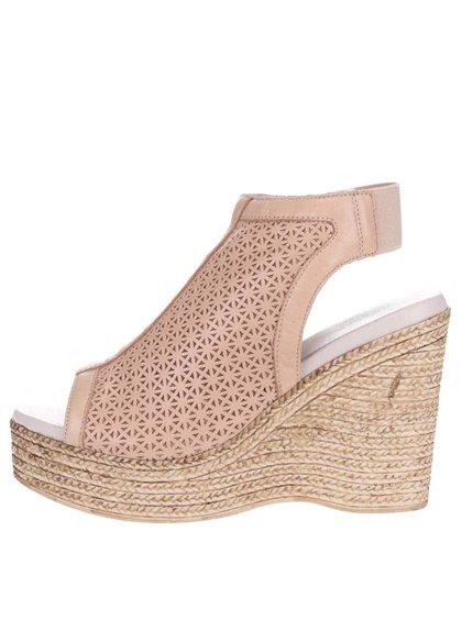 Sandale din piele OJJU bej cu platformă