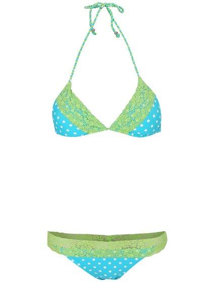 Zeleno-tyrkysové dvoudílné plavky s puntíky Relleciga