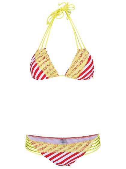 Červeno-žluté pruhované plavky s krajkou Relleciga