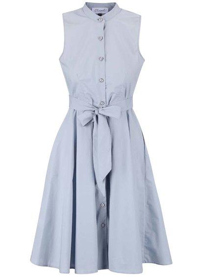 Sivomodré šaty bez rukávov na gombíky Closet