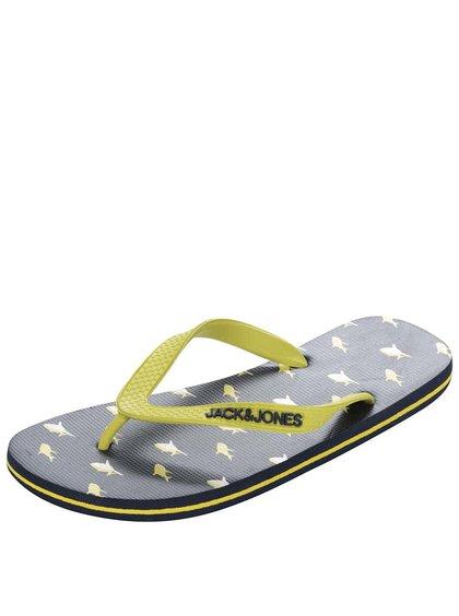 Șlapi Jack & Jones Flip Flop negri-galbeni