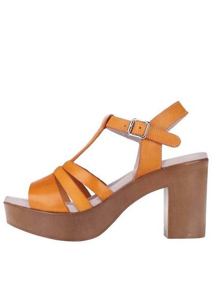 Oranžové kožené sandálky na podpätku OJJU