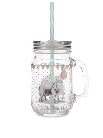Cană Sass & Belle Party Animals din sticlă cu capac