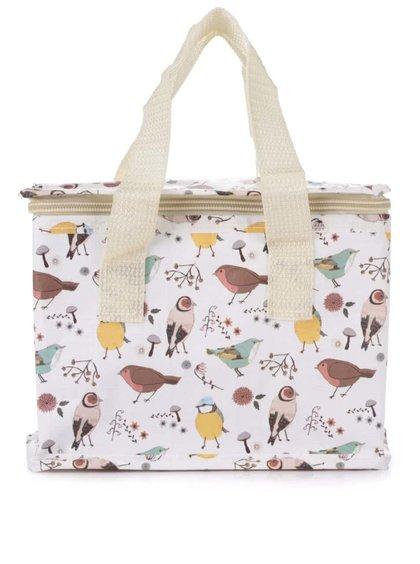 Žluto-bílá box na jídlo s potiskem ptáčků Sass & Belle British birds