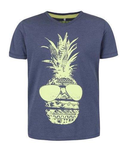 Tmavě modré klučičí tričko s potiskem name it Istian