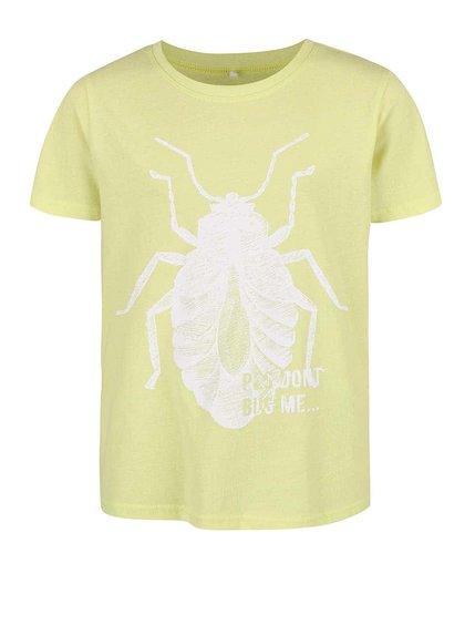Limetkovožlté chlapčenské tričko s potlačou chrobáka name it Victor