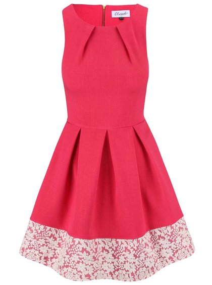 Malinově růžové šaty olemované krajkou Closet