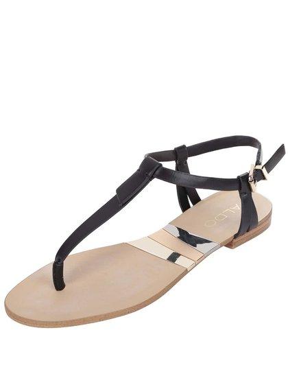 Čierne remienkové sandále s detailmi v zlatej farbe ALDO Susie