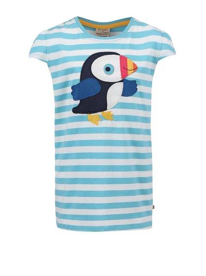 Tyrkysové dievčenské tričko s vtáčikom Frugi Poldhu