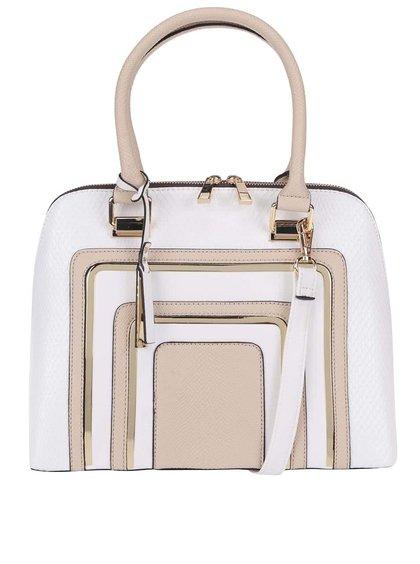 Béžovo-bílá obdelníková kabelka s detaily ve zlaté barvě ALDO Notice