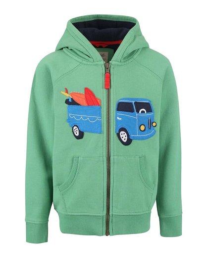 Zelená chlapčenská mikina s autom Frugi Zip-Up Hoody